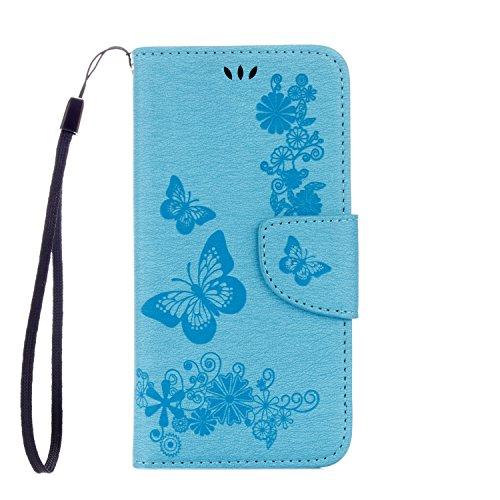 Cover Samsung Galaxy S6 Edge, Alfort Custodia Protettiva in Pelle Verniciata Goffrata Farfalle e Fiori Alta qualità Cuoio Flip Stand Case per la Custodia Ci sono Funzioni di Supporto e Portafoglio Chi Blu