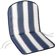 Saturnia 8097510 - Cojín para silla monoblock respaldo bajo, 80 x 42 x 2 cm, color azul y blanco
