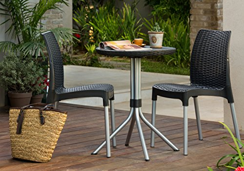 Keter Chelsea 2 Seater Rattan Outdoor Patio Garden Furniture Dining Set U2013  Graphite
