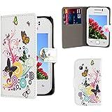 32nd® Désign étui portefeuille en cuir synthetique pour Samsung Galaxy Y S5360, avec film protecteur décran et chiffon de nettoyage - Colour Butterfly