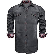 Coofandy Camisa Vaquera de Hombre con Bolsillos de Estilo Demin Regular 338ef0c7fd6