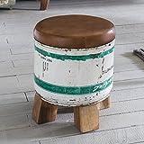 FineBuy Sitzhocker Indira 28x34,5x28cm Metall/Leder/Holz Ottomane Braun/Weiß | Design Hocker Klein | Polster Fußhocker Shabby | Vintage Dekohocker Rund | Polsterhocker Flur | Mini Fußablage