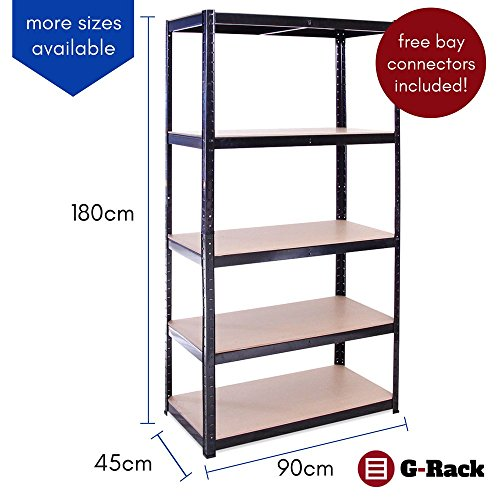 Garage Shelving Units: 180cm x 90cm x 45cm | Heavy Duty Racking Shelves for Storage – 4 Bay, Black 5 Tier (175KG Per Shelf), 875KG Capacity | For Workshop, Shed, Office | 5 Year Warranty