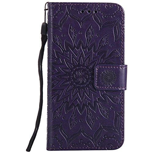 Für LG K8 Fall, Prägen Sonnenblume Magnetic Pattern Premium Soft PU Leder Brieftasche Stand Case Cover mit Lanyard & Halter & Card Slots ( Color : Gray ) Purple