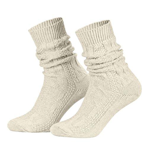 Piarini 1 Paar Trachtensocken Herren - kurze Shoppersocke mit Zopfmuster Damen - Lederhosensocken Baumwolle beige meliert 49 50