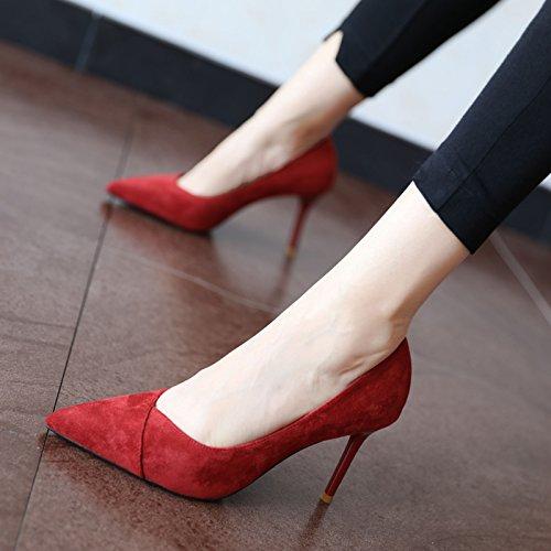 FLYRCX semplice moda europea camoscio, elegante, sexy, sottile e tacchi alti, signore di festa le scarpe B