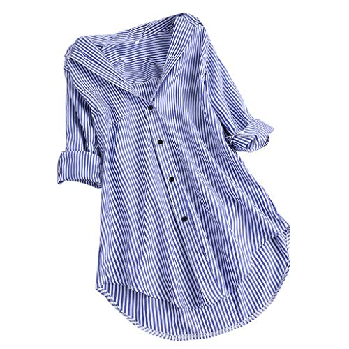 Gestreift Blusen, Dasongff Damen Striped Tunika Tops Button-down Langarm Bluse Hemd Lose Top Oberteile Elegante Sommertop Unregelmässiges Schicke Longshirt -
