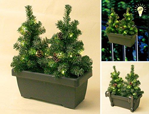 VARILANDO® LED-Weihnachtsbaum Lichterkette Tannenbäumchen im Balkonkasten Weihnachtsdeko Weihnachts-Beleuchtung Garten-Beleuchtung