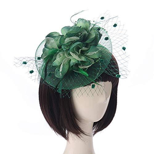 huichang Damen Fascinator Hut Braut Haar Clip Haar Accessoire Tea Party Hochzeitskirche Kopfbedeckung (Grün)