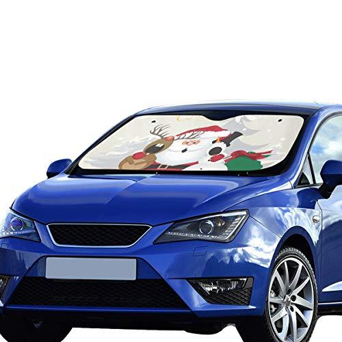 Plosds Baby Auto Sonnenschutz Frohe Weihnachten Weiß Schneemann Sonnenblende Universal Fit Vorne Halten Auto Fahrzeug Kühle Wärme Reflektor Geländewagen LKW 55
