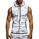 Mose Men's Sleeveless Camouflage Blouse Summer Casual Camouflage Print Hooded T-Shirt Top Vest Blouse