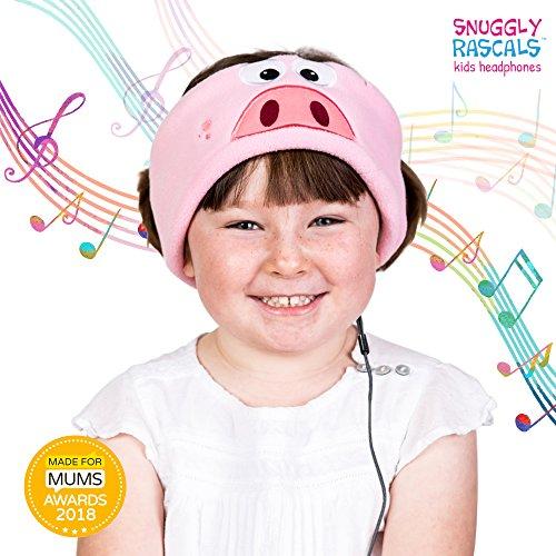 Snuggly Rascals SR1-PIG Bequeme und größenverstellbare Stirnband-Kopfhörer für Kinder rosa (Schwein Stirnband Ohr)