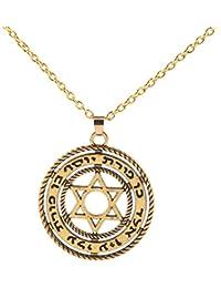 Las mujeres joyería clásico estrella judía de David Colgante Collar Hexagrama Collar