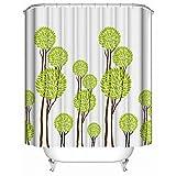 HUIYIYANG Kundenspezifischer Duschvorhang, Abstrakte Karikatur-hellgrüne Bäume Weiße Einfache Art- und Weisewasserdichter Anti-Mehltau-Gewebe-Polyester-Badezimmer-Duschvorhang60 x 72