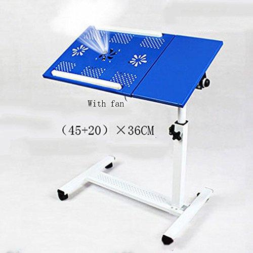 ZXL Rolling Laptop Tisch Notebook Ständer Schreibtisch Krankenhaus Tisch Ständer Abschließbare Rollen, Höhenverstellbar (Farbe: Blau) -