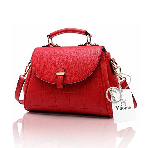Yoome Retro Lichee Pattern Flap Tasche Große Kapazitäten Top Griff Handtaschen Für Frauen Für Dating - Schwarz Rot