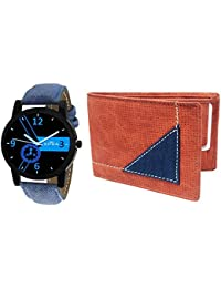 XPRA Analog Watch & Brown Leather Wallet For Men/Boys Combo (Pack of 2) - (WCH-WL-10)