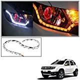 #10: Vheelocityin Custom Car Crysal DRL Daytime Running Light with Orange Audi Style moving Indicators For Renault Duster New