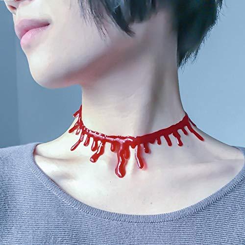 Qianren Women Fake Blood Drip Necklace Scary Vampire Halloween Party Cosplay Costumes Decoration Accessories (Halloween Costumi Vampira)