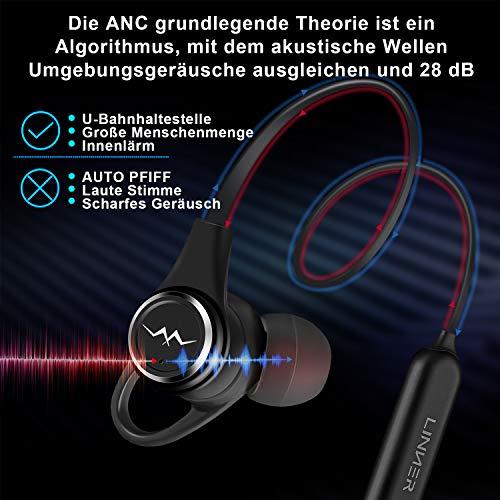 LINNER NC50 Active Noise Cancelling Kopfhörer-In Ear Ohrhöre Bis zu 28dB Rauschunterdrückung Drahtlos Bluetooth V4.1 Sports Nackenbügel Magnetkopfhörer mit Tiefem Bass HD Stereo, 13 Stunden Spielzeit - 2