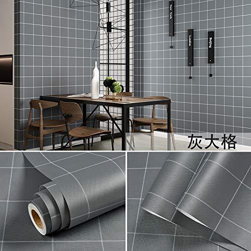 Carta da parati autoadesiva impermeabile camera da letto adesivi di colore solido carta da parati decorazione camera grigia grande griglia