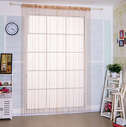 Preisvergleich Produktbild taiyuhomes Classic Warp Stricken String Vorhang für Home Decor und Trennwand mit Ornament Perlen Kette Design perfekt, wie Fliegengitter, beige, 90 x 200cm (Dew Shaped)