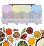 Facile da Fissare Design Elegante Rastrelliera da 4 Vasetti Spezie Coperchi Colorati Cucchiai Supporto Scaffale Montaggio a Muro Autoadesivo per Cucine Organiser Contenitori Condimenti Cereali