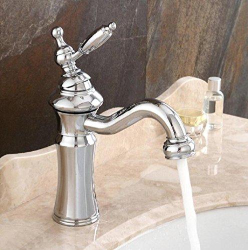 AMZH Hahn Messing Küche Bad Wasserhahn Single Hole Hot And Cold Mixed Waschbecken Wasserhähne