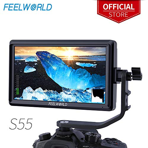 Feelworld S55 5.5 Zoll DSLR Kamera Field Monitor Small Full HD 1280x720 IPS Peaking Focus Video Assist mit 4K HDMI 8.4V DC Input Output Gehören Tilt Arm Kamera Hd Dslr Monitor