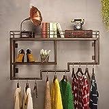 XQY Kleiderständer Kleiderständer Retro-Stil Industrie-Rohrwand an der Wand, Regale, Bücherregal, Kleiderbügel Metall Hut und Mantel Stehen Urban Chic Home Decor Stabil und langlebig, Kleidung Baum