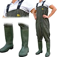 Lineaeffe All Weather Double PVC Waterproof Carp Coarse Fishing Chest Waders/Wellies in Sizes 7 8 9 10 11 & 12 (UK Size 10 - EU Size 44)