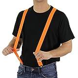 Foxxeo 35095 | 80er Jahre Hosenträger neon orange Kostüm Fasching Hosen Träger