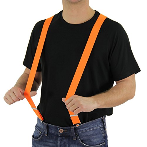 Foxxeo orange Hosenträger für Damen und Herren für 80er Jahre Motto-Party Karneval und Fasching neon (80er Jahre Motto Party Kostüm)