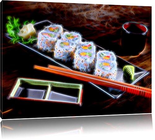 Dark appetitliche Inside Out Sushi Rollen auf Leinwand, XXL riesige Bilder fertig gerahmt mit Keilrahmen, Kunstdruck auf Wandbild mit Rahmen, günstiger als Gemälde oder Ölbild, kein Poster oder Plakat, Format:120x80 cm