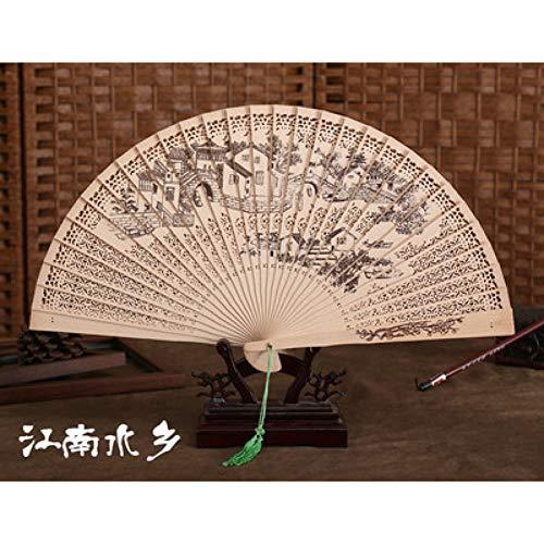 FSWYHRFD Sandelholz Drachen Dekoration Handwerk Bambus Holz Fan Sommer Zubehör Kunst Falten Geschnitzte Hand Fan (Chinesischer Papier Drachen Kostüm)