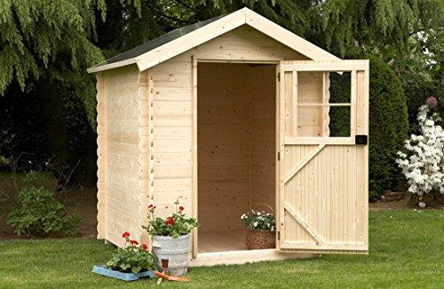 Alpholz Gartenhaus Toby LÜTT aus Fichten-Holz | Gartenhütte mit Dachpappe | Geräteschuppen klein...