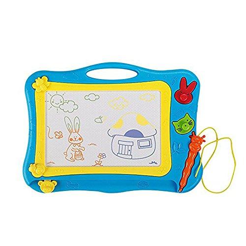 MIMINUO Gekritzel Zeichenbrett Lernspielzeug mit Stift und 2 Stempel Löschbar für Kinder ab 3 Jahre (Blau)