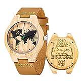 Gravierte Holz Bambus Uhr für Männer personalisierte Geburtstag Geburtstagsgeschenk für Ehemann(to Husband)