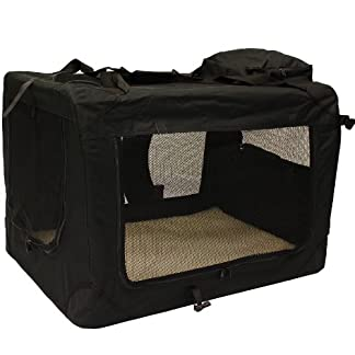 mool lightweight fabric pet carrier crate with fleece mat and food bag - large (70 x 52 x 52 cm), black Mool Lightweight Fabric Pet Carrier Crate with Fleece Mat and Food Bag – Large (70 x 52 x 52 cm), Black 51oHiUR5lfL