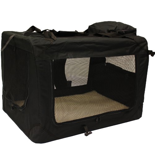 Mool Lightweight Fabric Pet Carrier Crate with Fleece Mat and Food Bag - Large (70 x 52 x 52 cm), Black