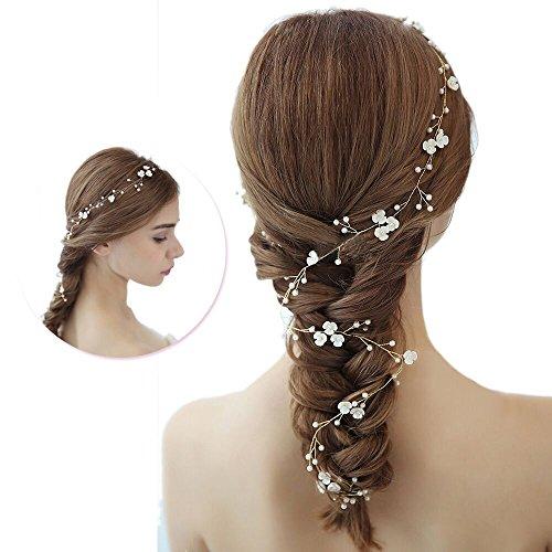 Haarhalter für Damen und Mädchen, Braut Haarschmuck Perle Blume Hochzeit Party Haarband Brautjungfer Stirnband Braut Accessoires, Stirnband mit Perlen, Fashion Zubehör für Frauen und Mädchen.