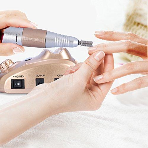 25.000 RMP Torno de Uñas Maquina eléctrica de manicura y pedicura con protección térmica incorporada, 6 cabezas de lijado