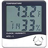 Saysha Temperature Humidity Time Display Meter with Alarm Clock, Wall Mount or Table Top, Multicolour