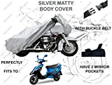 #3: Volga Silver Bike Body Cover With Mirror Pocket For Tvs Scooty Pep