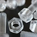 10er-Paket durchsichtige, klare M8 x 20mm Bolzen & Muttern – Schrauben aus Plastik, Acryl, Kunststoff