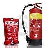 FSS UK Premium 6litros espuma extintor con manta de fuego. BSI-Protector de Manta ignífuga de extintor y con certificado CE. Ideal para casas KITCH