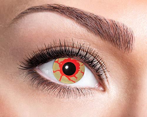 Eyecatcher - Farbige Kontaktlinsen für 12 Monate, blutendes Auge, 2 Stück Jahreslinsen, blutunterlaufend, / BC 8.6 mm / DIA 14.5 mm