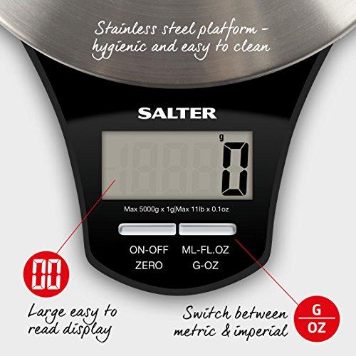 Salter 1035 SSBKDR Elektronische Küchenwaage mit Edelstahl-Teller 24 x 20 x 27,5 cm edelstahl / schwarz - 6