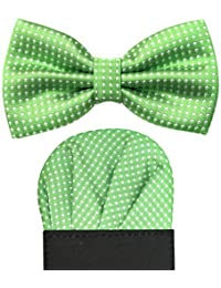 Deluxe Satin Pre Folded Pocket Square & Bowtie Gift Set - Green w/ Polka Dot Detailing