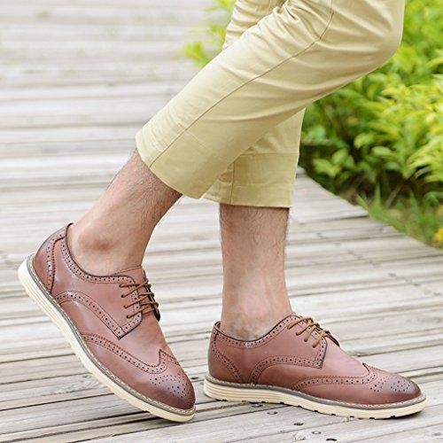 Minitoo Men's Casual et en cuir à lacets-Oxford-Bottes Chukka Chaussures de travail Marron - marron